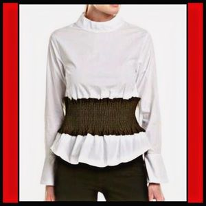 NWT ENGLISH FACTORY White Ruched w/Black Blouse S